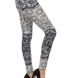 Floral Paisley Print Leggings Buttery Soft ONE SIZE