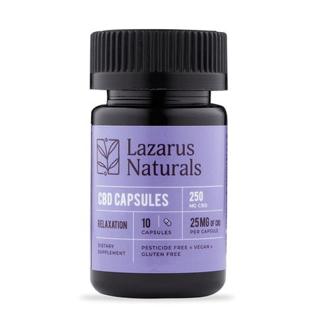 Lazarus Relaxation Formula 25mg CBD Capsules 10ct
