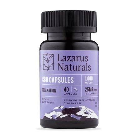 Lazarus Relaxation Formula 25mg CBD Capsules 40ct