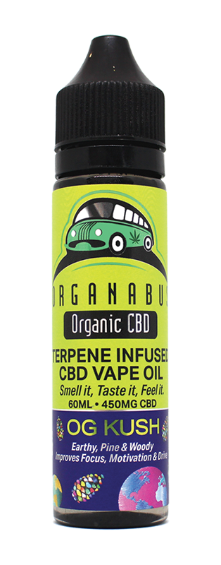 Organabus Organic CBD Terpene Infused 450mg Vape Oil 60ml OG Kush