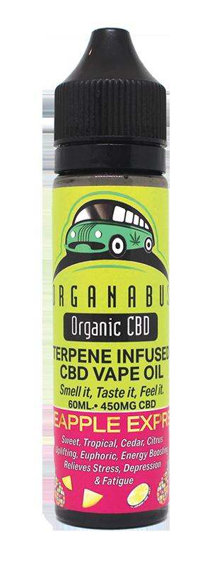 Organabus Organic CBD Terpene Infused 450mg Vape Oil 60ml Pineapple Express