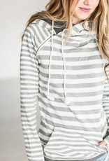 Ampersand Avenue Double Hooded Sweater - Grey on Grey