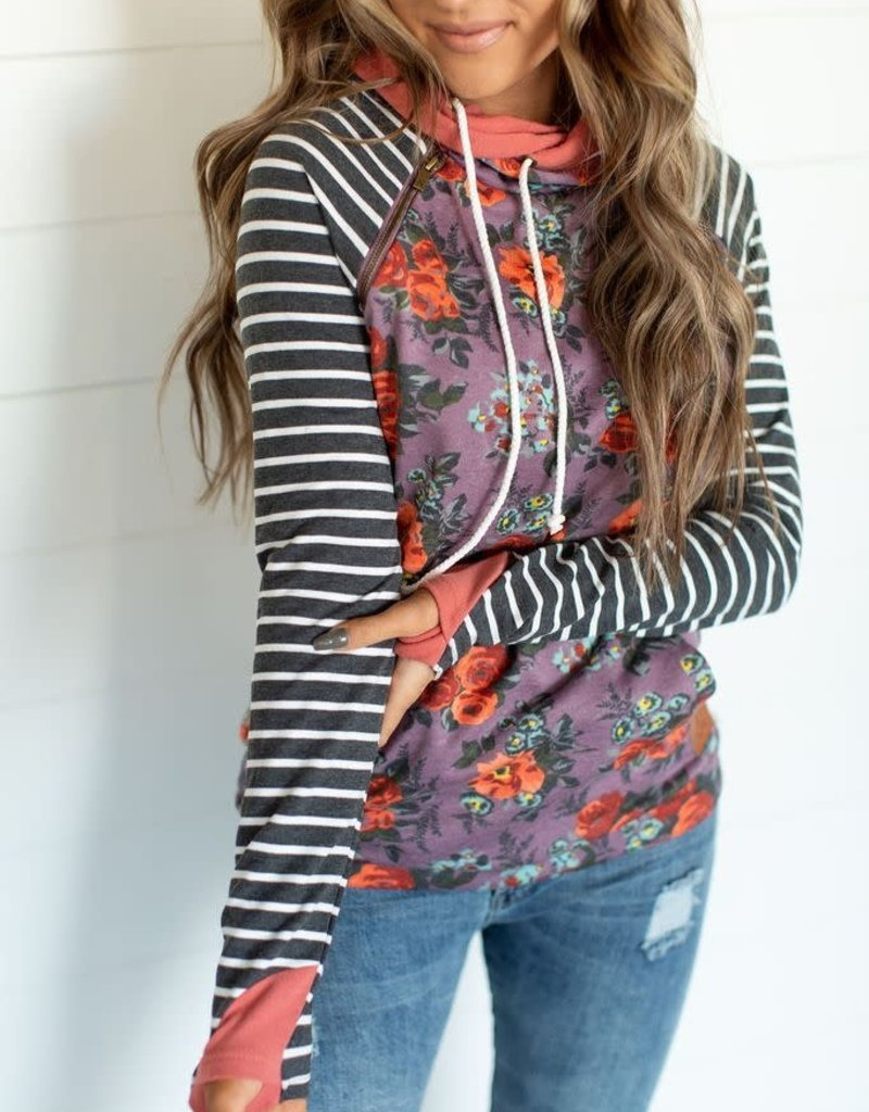 Ampersand Avenue Double Hooded Sweater - Stormy Meadows