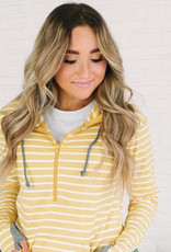Ampersand Avenue Zipper Hoodie - Yellow Stripes