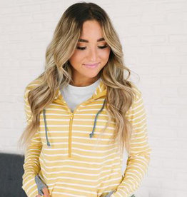 Ampersand Avenue Half Zip Hoodie - Yellow Stripes