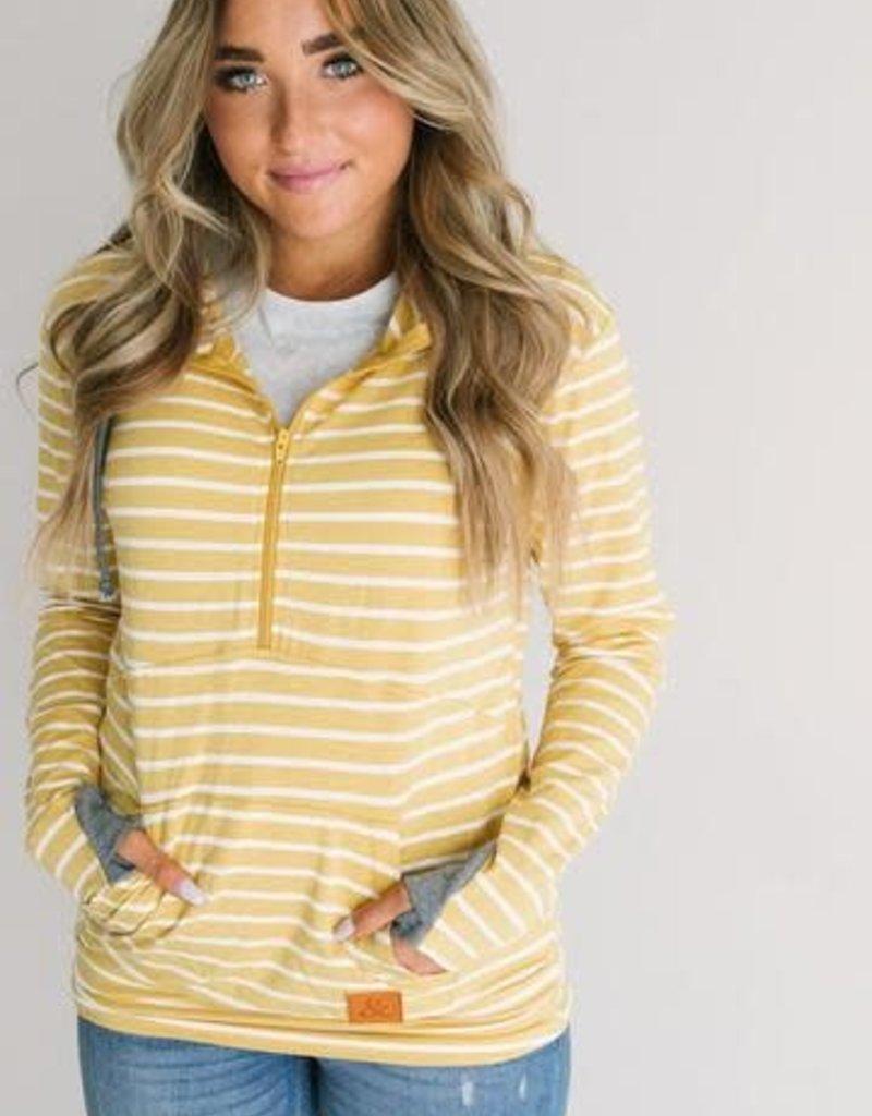 Ampersand Avenue Zipper Hoodie - Yellow Stripes