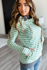 Ampersand Avenue Double Hooded Sweater - Green Stripes