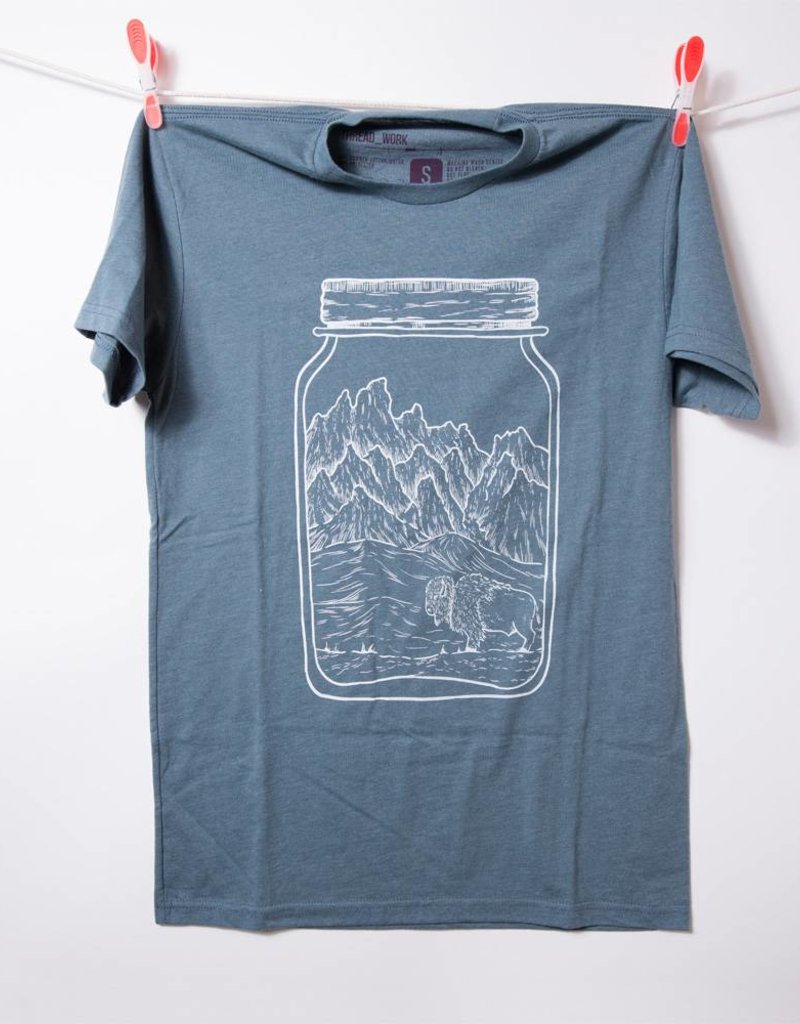 THREADWORK Mens Tee Mason Jar Bison