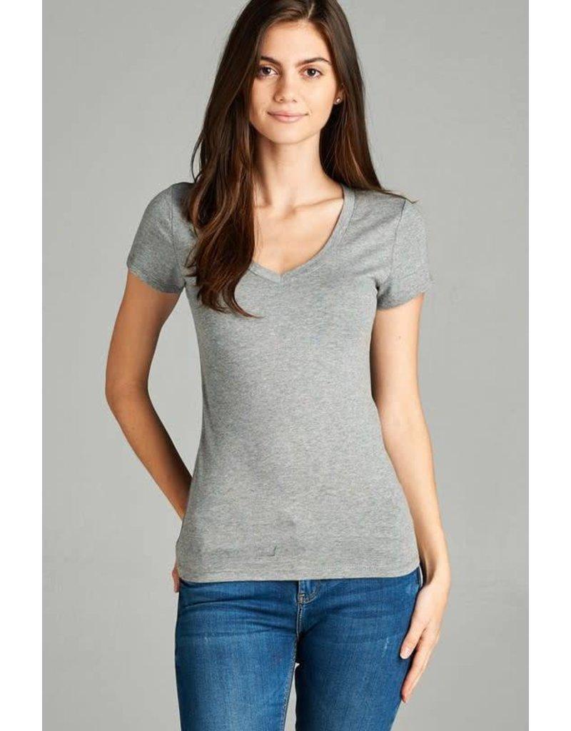 Heather Grey V Neck T-Shirt