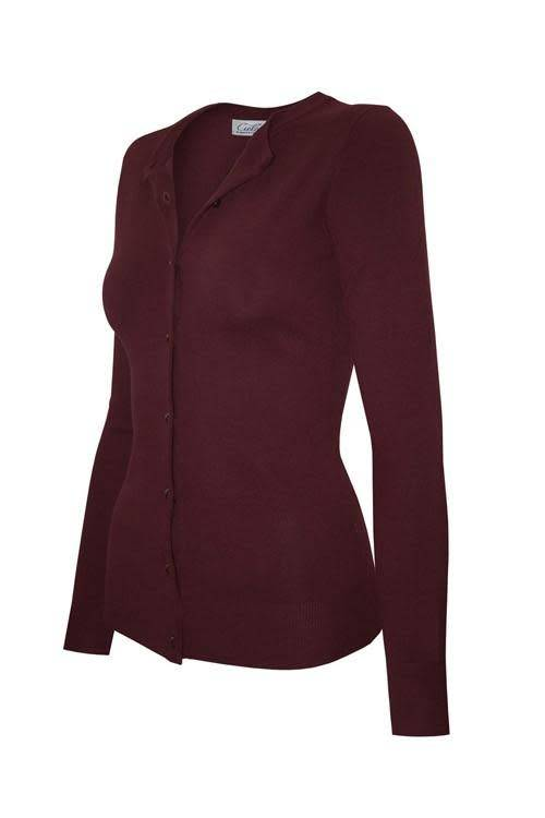 Burgundy Round Neck Cardigan