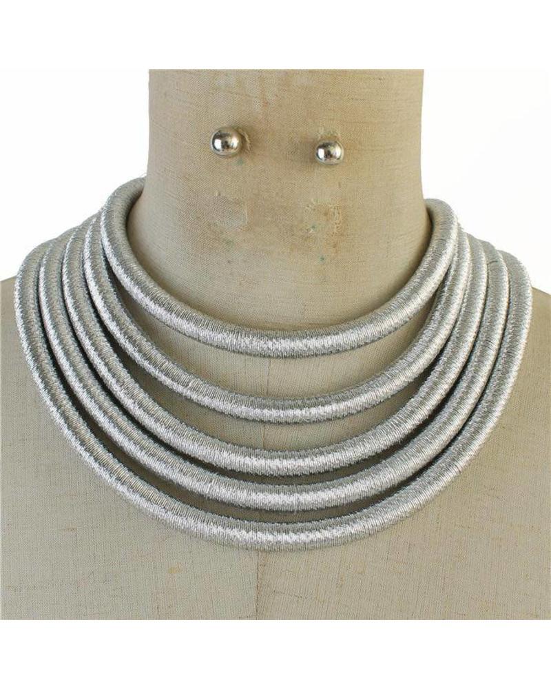 Metallic Ropes Necklacee Set