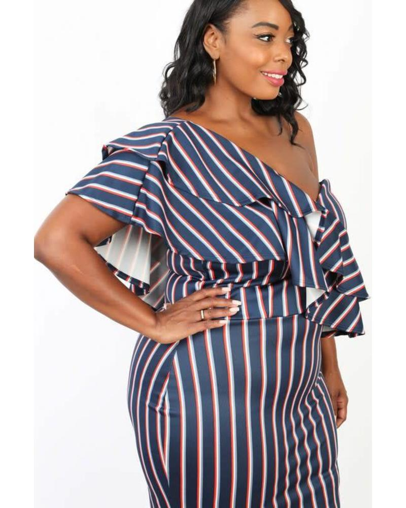 PLUS Class Act Striped Dress