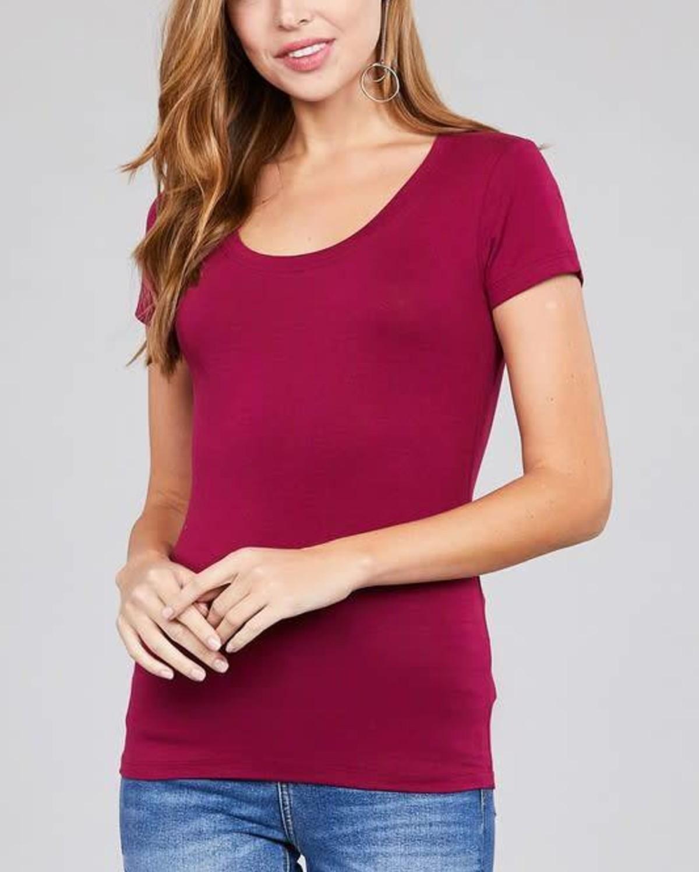 Magenta Round Neck T-Shirt