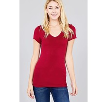 Burgundy V Neck T-Shirt