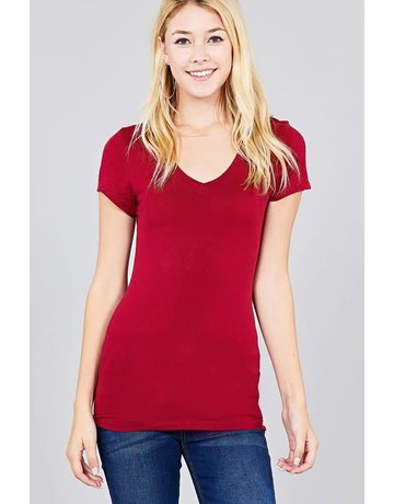 Burgundy V Neck T-Shirt
