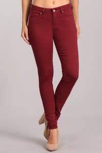 Burgundy Mid Rise Skinny Pants