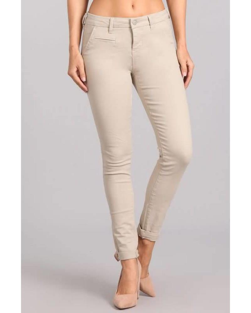 Bone Mid Rise Skinny Pants