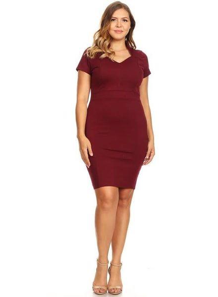 PLUS Truth Reveal Dress Burgundy