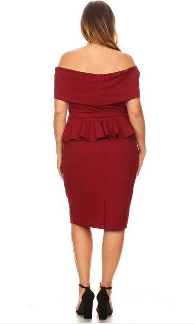 PLUS Can't Sit Still Peplum Dress Burgundy