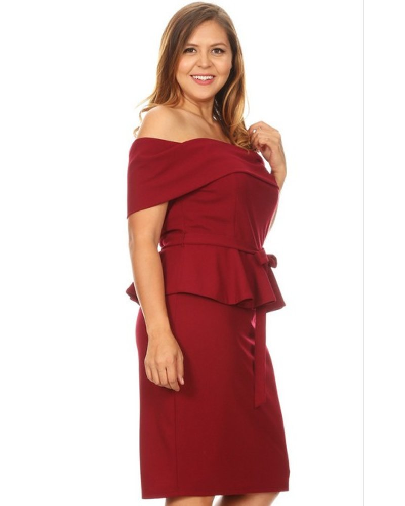 PLUS Can't Sit Still Peplum Dress Burgundy