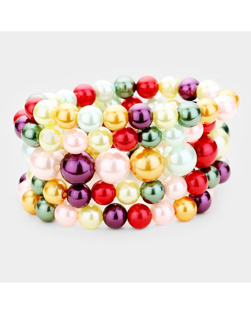 Five Strand Pearl Bracelet Set