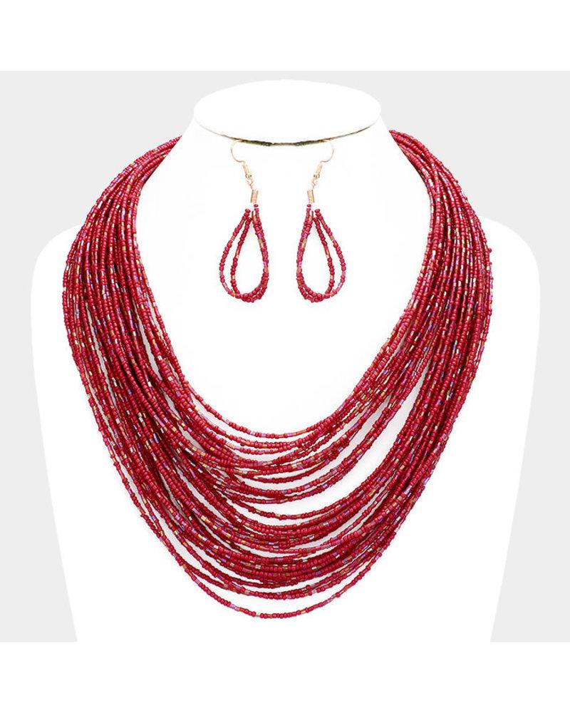 Left Stranded Beaded Necklace Set