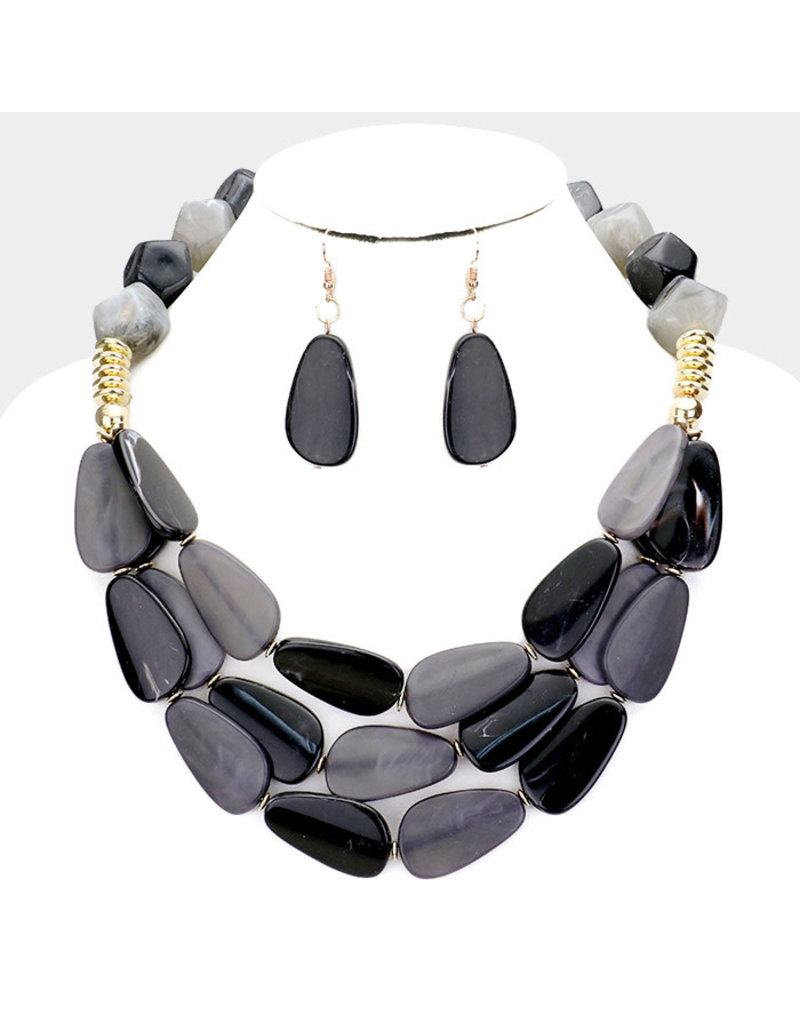 Flat Out Stone Necklace Set