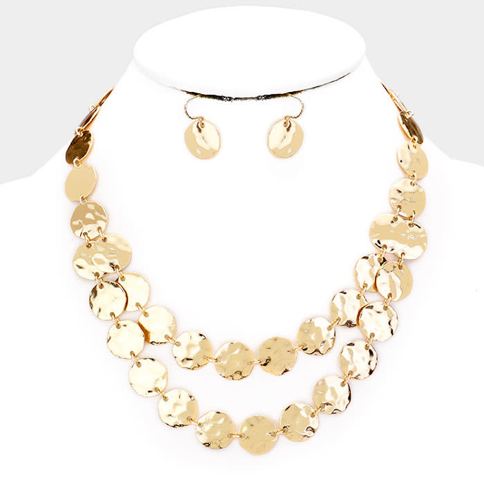 Hammered Rounds Necklace Set