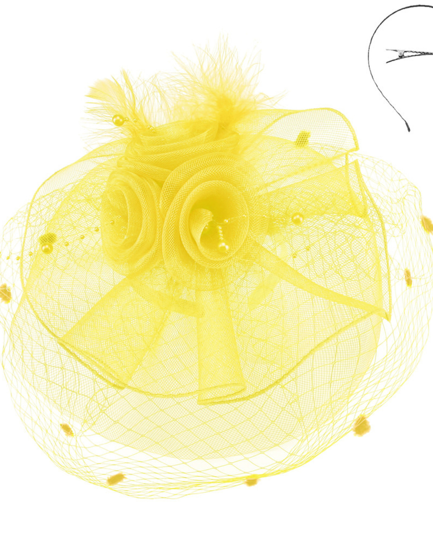 Pearl Dreams Fascinator Yellow
