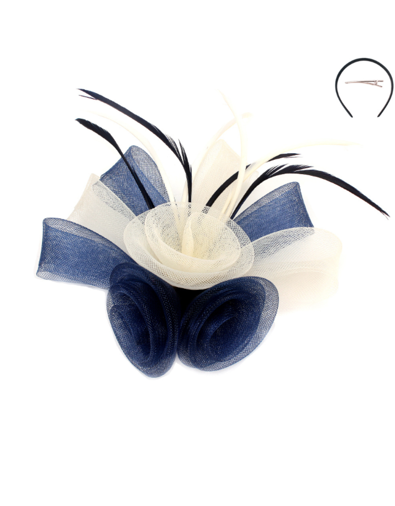 Rose Trio Fascinator Navy/Ivory