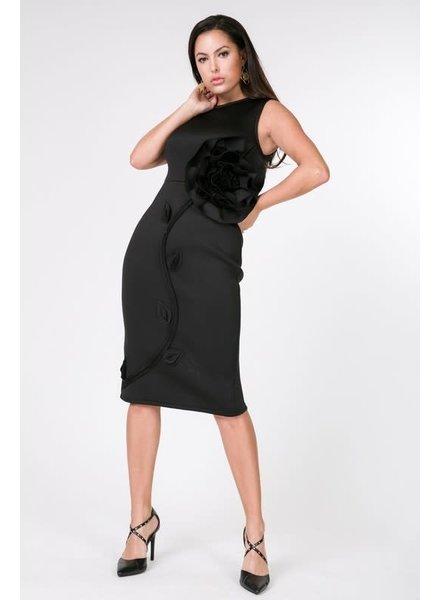 Fit Me Right Flower Dress Black