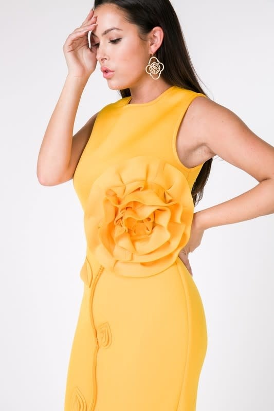 Fit Me Right Flower Dress Golden Yellow