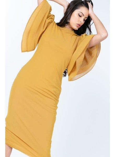 Yesterday's Gone Ruffle Dress Mustard