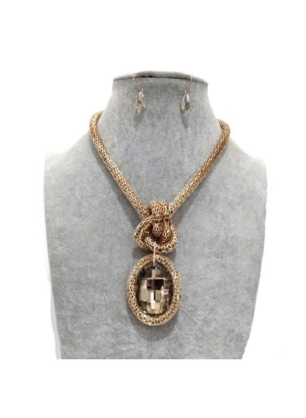 Knotted Jewel Necklace Set