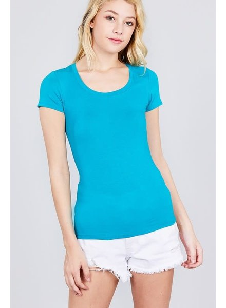 Turquoise Round Neck T-Shirt