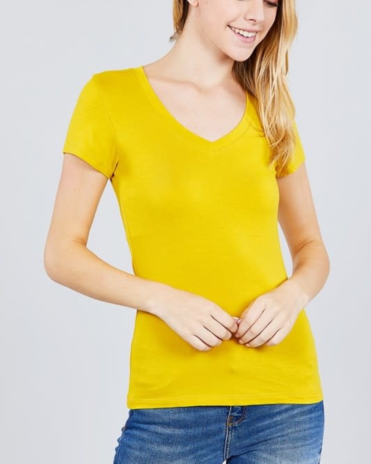 True Mustard V Neck T-Shirt