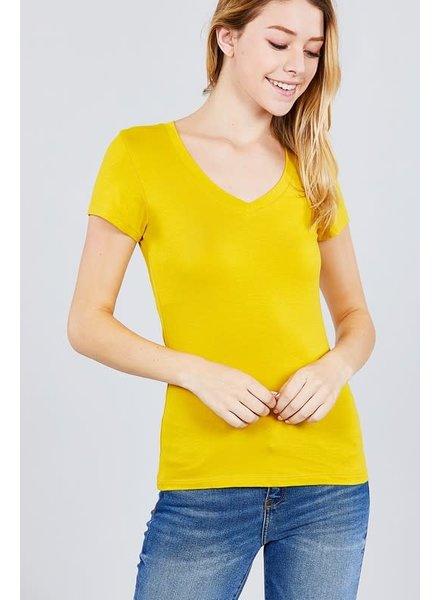 True Mustard V Neck T-Shirt