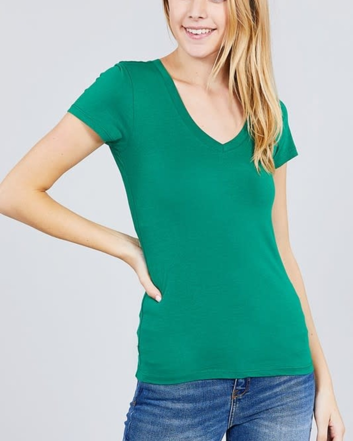 Kelly Green V Neck T-Shirt