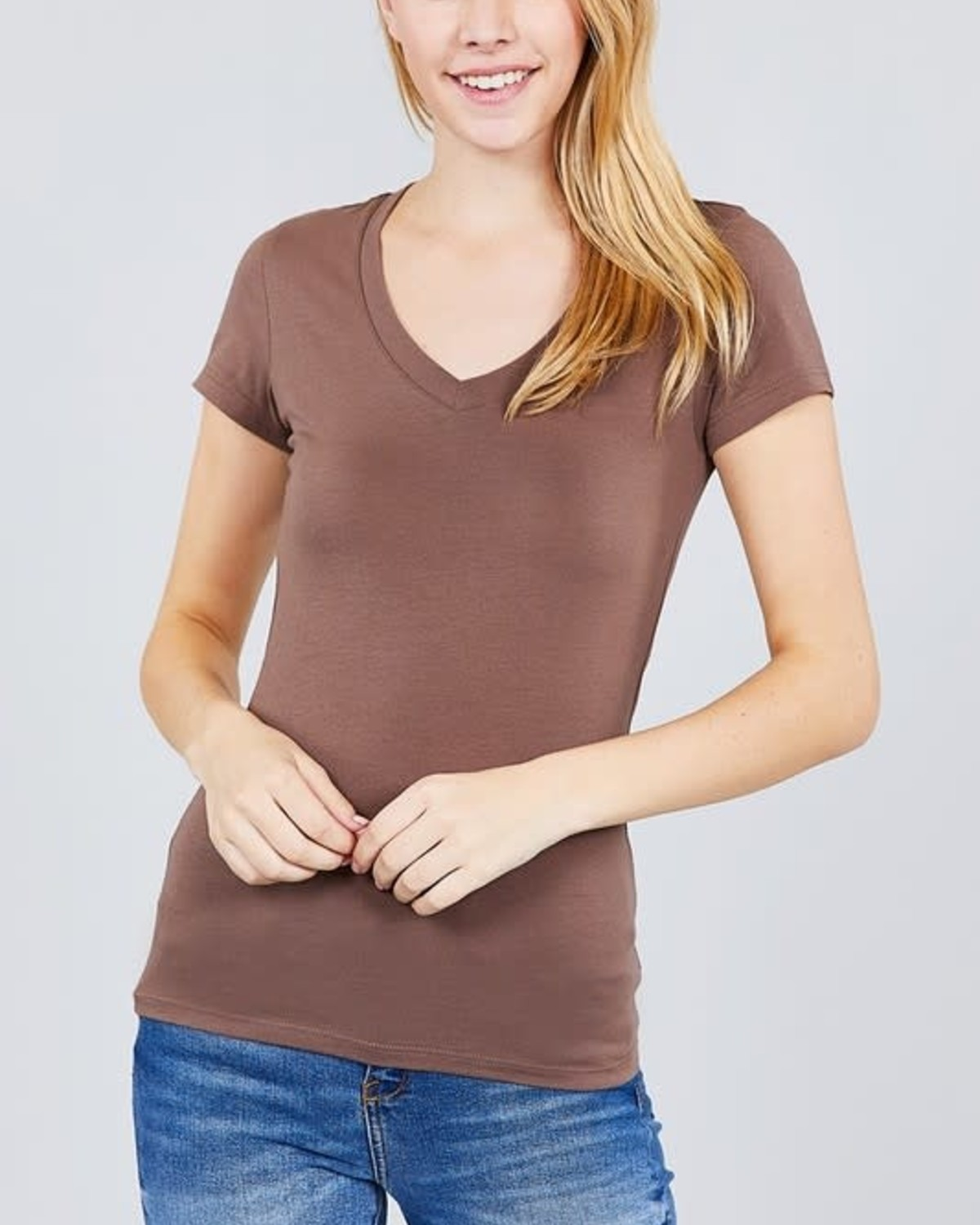 Coffee Brown V Neck T-Shirt