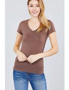 Coffee Brown V Neck T-Shirt