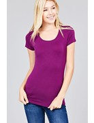 Mulberry Purple Round Neck T-Shirt Long