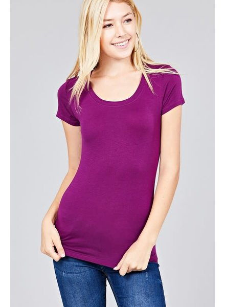 Mulberry Purple Round Neck T-Shirt Long