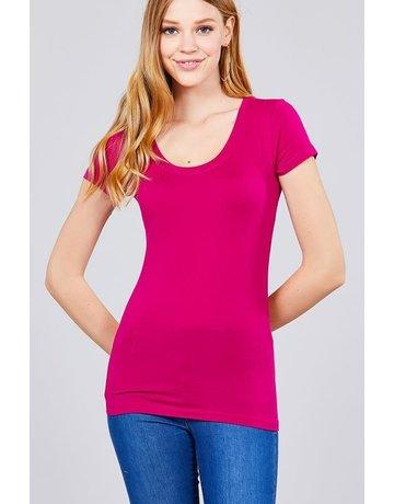 Deep Magenta Round Neck T-Shirt Long