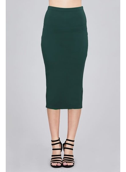 Viridian Green Midi Pencil Skirt