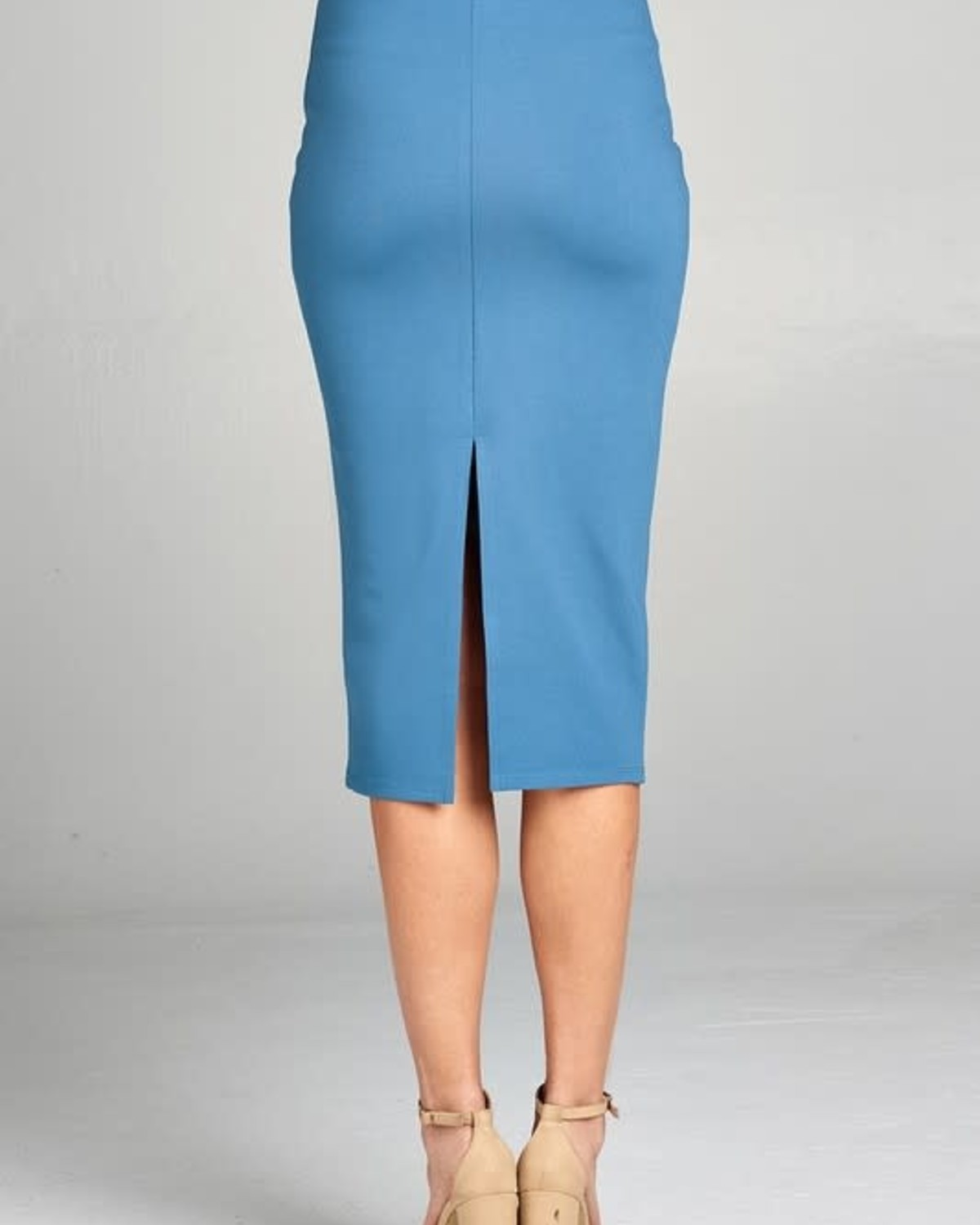 Blue Shadow Midi Pencil Skirt