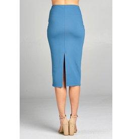 Blue Shadow Midi Pencil Skirt