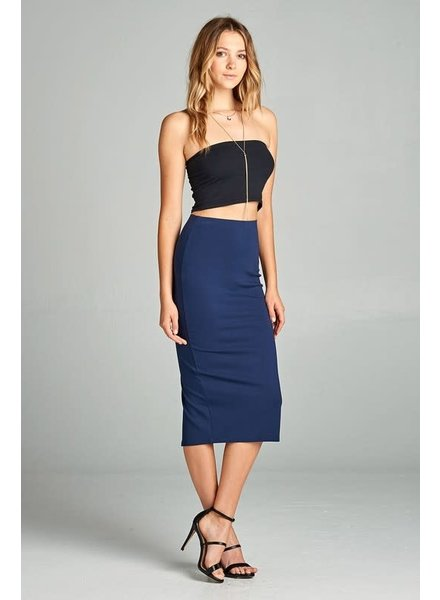 Dark Navy Midi Pencil Skirt