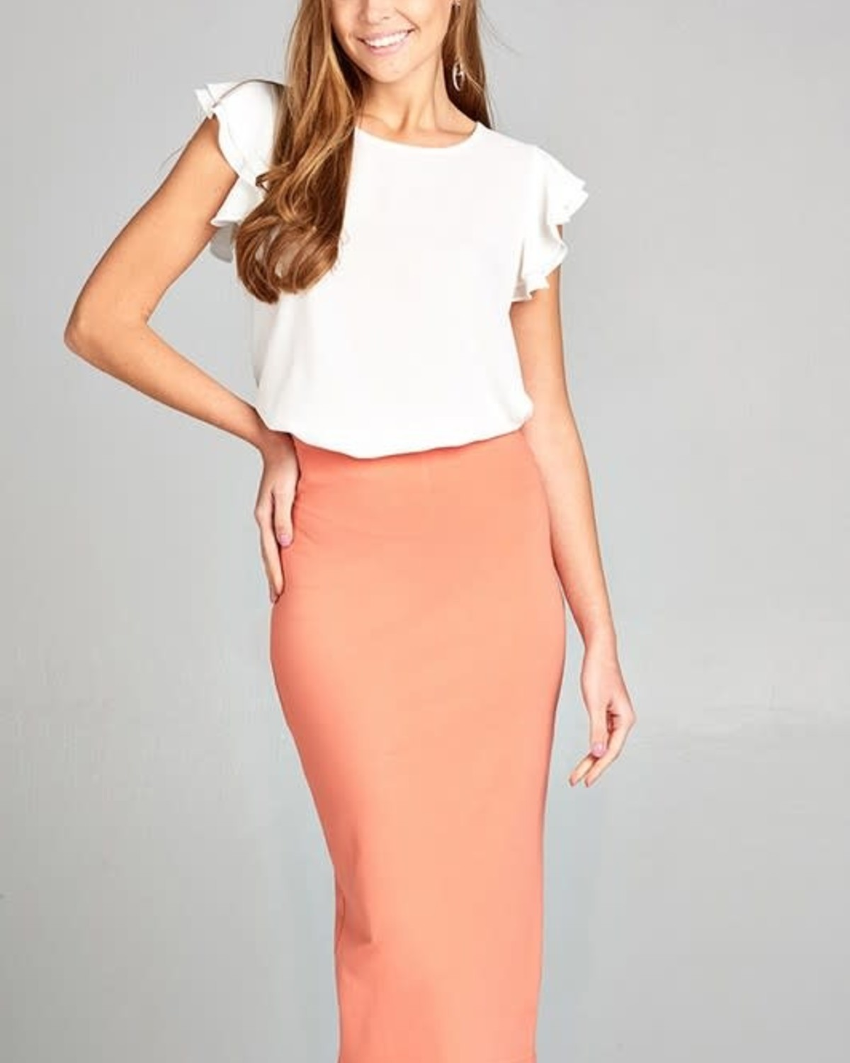 Burnt Peach Midi Pencil Skirt
