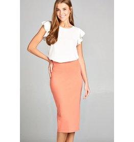 Burnt Peach Midi Pencil Skirt
