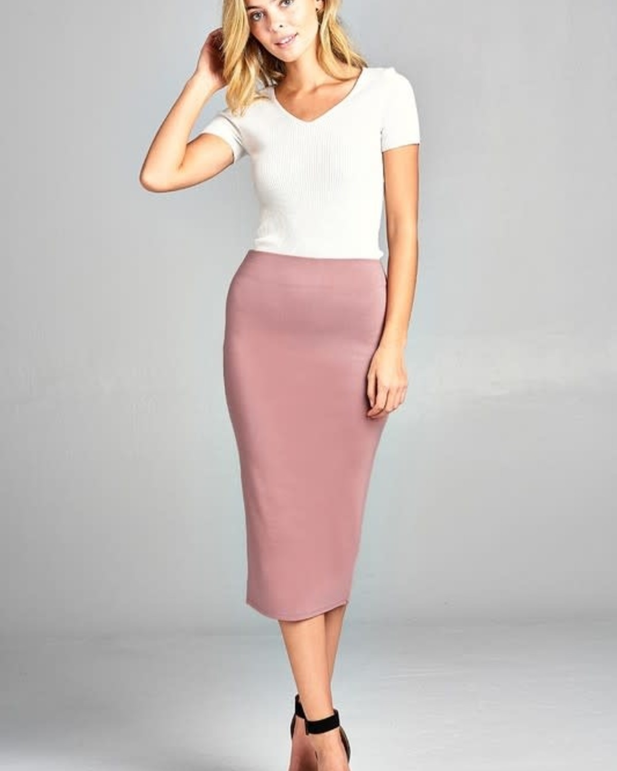 Wood Pink Midi Pencil Skirt